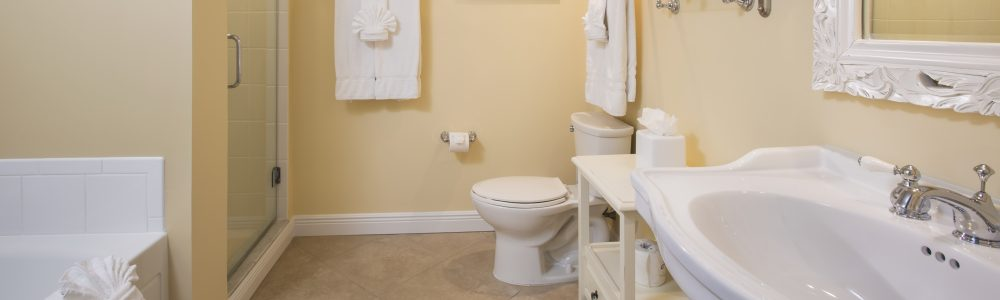Spacious bathroom in a guestroom at Tranquility Bay.