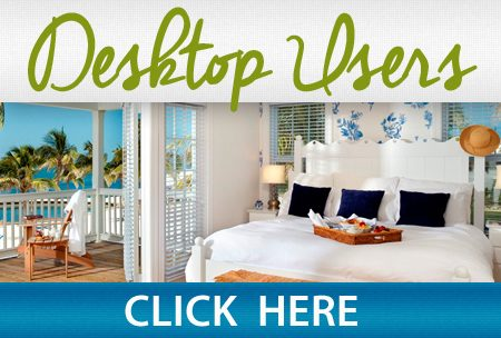 "Image of bedroom with text: ""Desktop users, click here."""