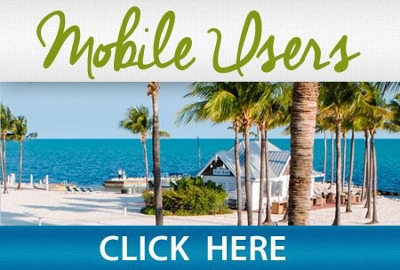 "Image of beach with text: ""Mobile users, click here."""