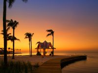 Silhouetted palm trees line a beach boardwalk at sunset.