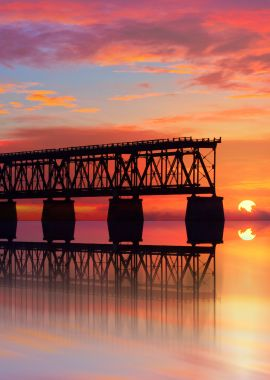 Florida Keys Ocean with Bridge at Sunset